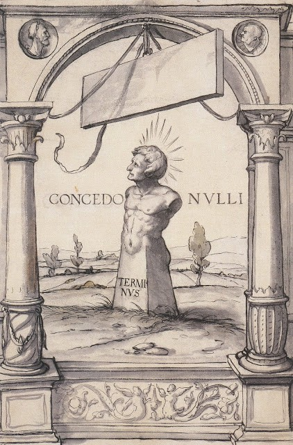 Design for a Stained Glass Window with Terminus. (31 December 1524) By Hans Holbein the Younger.