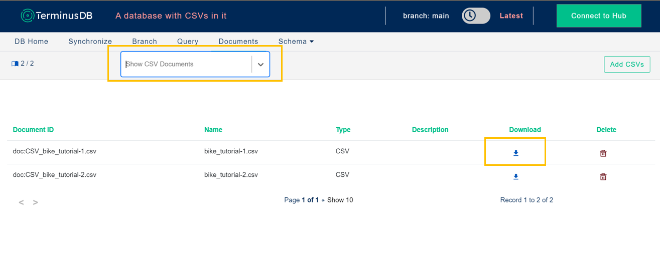 export csv from document page