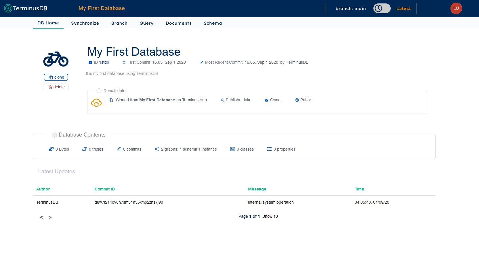 Successfully created Database
